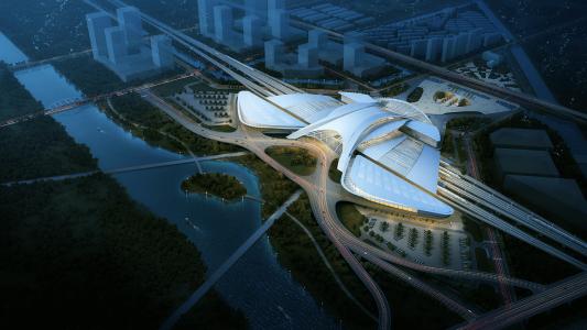 Yancheng TGV station, Jiangsu,<span class=infosup> Chine Populaire Concours 2016 non réalisé </span>